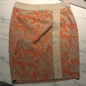 Linen Fitted Skirt/tan and orange/4